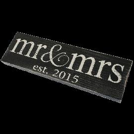 Mr & Mrs Est. 2015 Vintage Wood Sign for Wedding Decoration