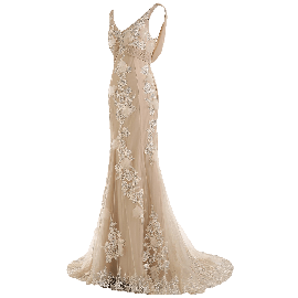 Sunvary Gorgeous Champagne Mermaid Wedding Dresses for Bride Lace and Chiffon