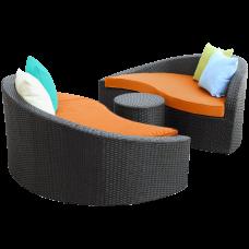 LexMod Twirl Outdoor Wicker Patio 3 Piece Sofa Set
