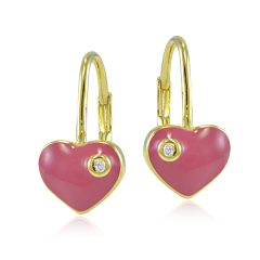 Pink-Cubic-Dangling Earrings