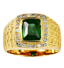 14K Yellow Gold Green Radiant Cut CZ Ring