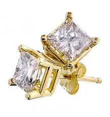 14K Yellow Gold Princess Diamond 4-Prong Stud Earrings