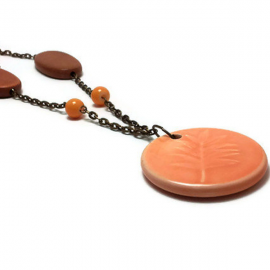 Jewelry Set - Bronze, Wood and Peach Stone Necklace, Bracelet and Earring