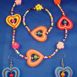 Girls Set of Necklace, Bracelet & Earrings, Bright Colorful Hearts