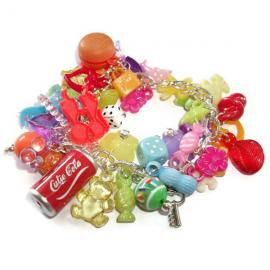 Gumball Charm Bracelet, Kawaii Kitsch Beaded Bracelet