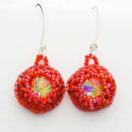 Red Dichroic Bead Embroidered Earrings