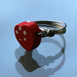 Small wooden heart wire wrapped ring