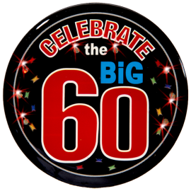 60th Birthday Light Up Pin
