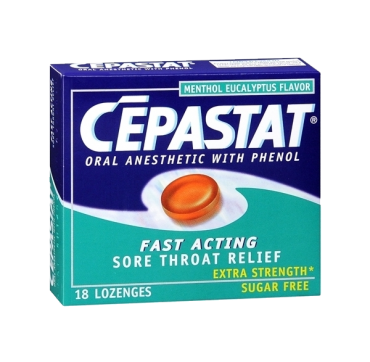 Cepastat Sugar Free Oral Anesthetic Lozenges with Phenol, Menthol Eucalyptus Flavor