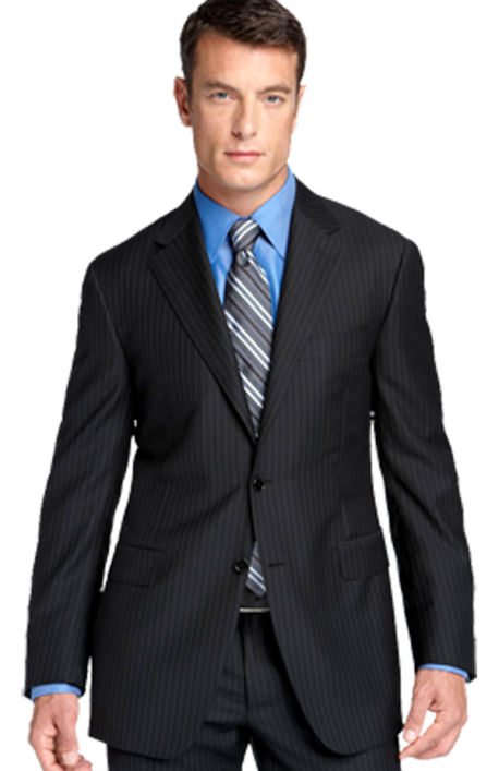 Canali Black Shadow Stripe Wool Suit