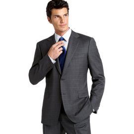 Canali Charcoal Grid Wool Suit