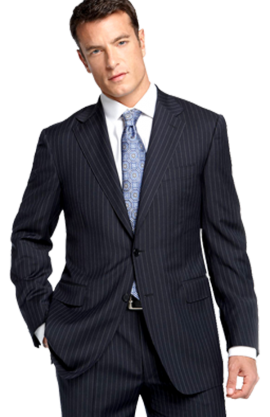 Canali Navy Pinstripe Wool Suit