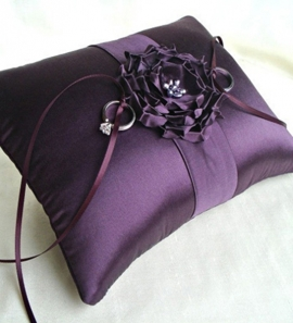 Eggplant Sophia Rose Silk Ring Bearer Pillow