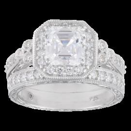 Sterling Silver Swarovski Zirconia Asher Antique Wedding Ring