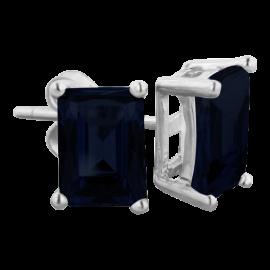3ct Emerald Cut Midnight Sapphire Earrings In Sterling Silver