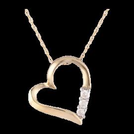 10k Gold and Diamond Three-Stone Heart Pendant Necklace