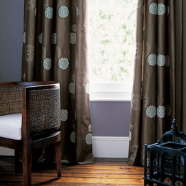 John Lewis Dahlia Eyelet Curtains, Mocha