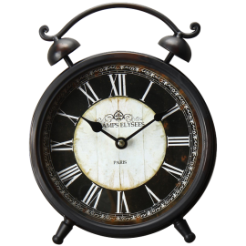 Adeco [CK0034] Antique Vintage Retro Round Decorative Iron Wall Clock Champs Elysees- Home Decor