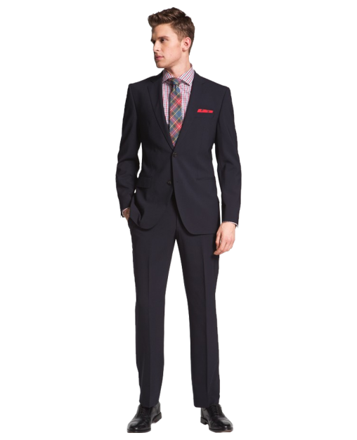 Jam-Sharp Trim Fit Navy Stretch Wool Suit