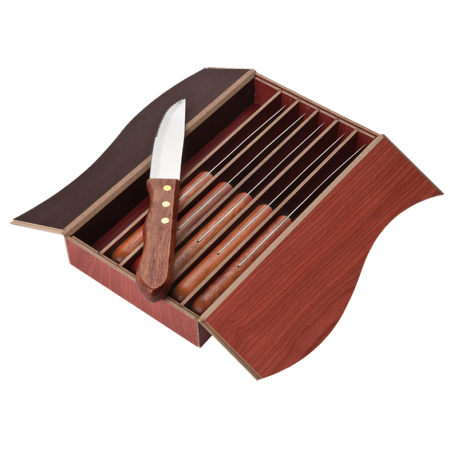 6 Piece Wood Handled Steak Knife Set