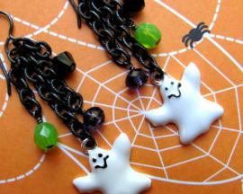 Ghost Earrings - Enamel Ghost Charm Swarovski Crystals Chain