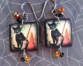 Black Cat Scrabble Tile Earrings