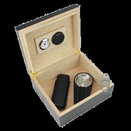 25-50 Cigar Black Humidor Gift Set
