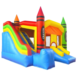 Commercial Grade Crayon Castle Bounce House with Blower and Slide by Inflatable HQ