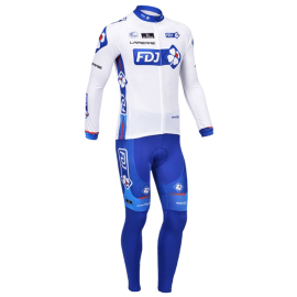 2013 FDJ White and Blue Man's Long Sleeve Bicycle Cycling Suit Comfortable Outdoors Cycling Bike Set Riding Clothing