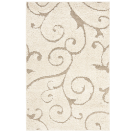 Safavieh Florida Shag Collection SG455-1113 Cream and Beige Shag Area Rug, 4-Feet by 6-Feet