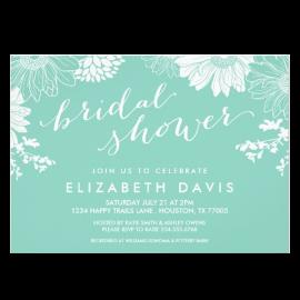 Aqua Modern Floral Bridal Shower Invites