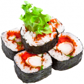 Maki sushi roll with crab meat and roe