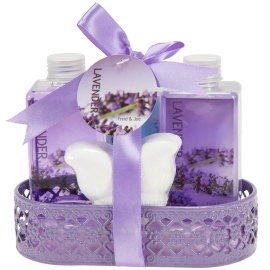 Lavender Bath and Body Gift Basket- Body Lotion Bubble Bath Shower Gel Bath Fizzer