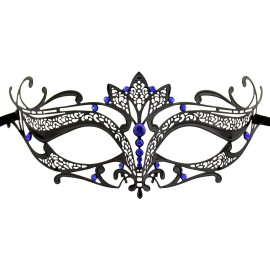 Burlesque-Boutique Women's Laser Cut Metal Tiara Venetian Pretty Masquerade Mask