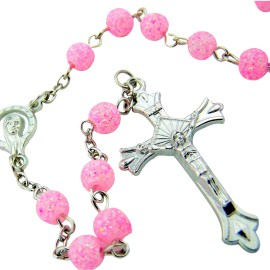 Womens Teen Girls Catholic Gift 6MM Acrylic Bead with Virgin Mary Madonna Centerpiece Rosary Necklace