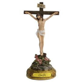 8- Jesus Christ on the Standing Cross- Catholic Crucifix Religious Figurine