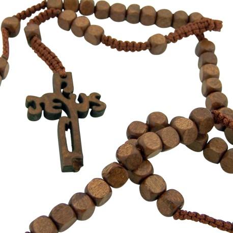 Wood 8mm Square Prayer Bead 18 1-2- Cord Rosary with 2- Jesus Cross