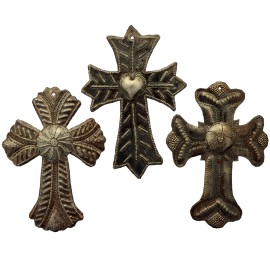 Metal Cross Religious Crosses Hand Crafted in Haiti From Recycled Oil Drums Set of 3  4- X 6-