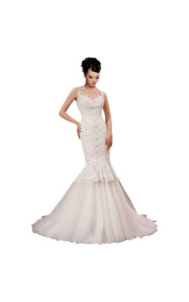 White Strap Ball Gown In Lace Wedding Dress