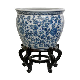 Oriental Furniture Antique Chinese Export Design 18-Inch Blue and White Porcelain Fishbowl Floral Pattern
