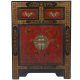 EXP Handmade Oriental Furniture 27-Inch Antique Style Black Leather End Table with Nature Motifs