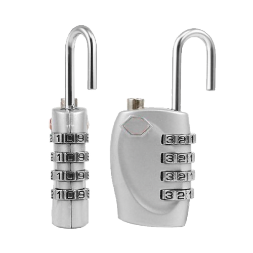 2 X Silver 4 Dial TSA Combination Padlock Resettable Lock Luggage Suitcase Trave