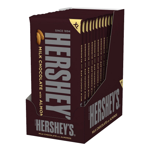 Hershey's Milk Chocolate Bar with Almonds 4.25-Ounce Bars (Pack of 12)