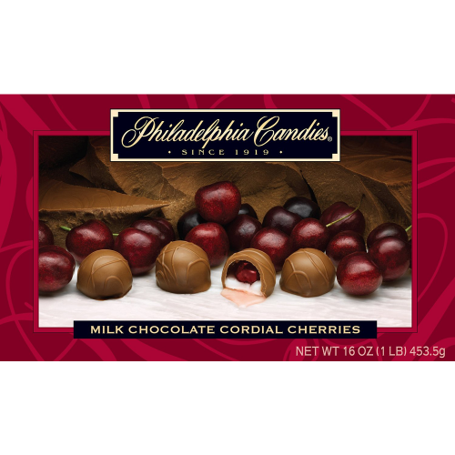 Philadelphia Candies Milk Chocolate Covered Cordial Cherries with Liquid Center (28-count) Gift Box
