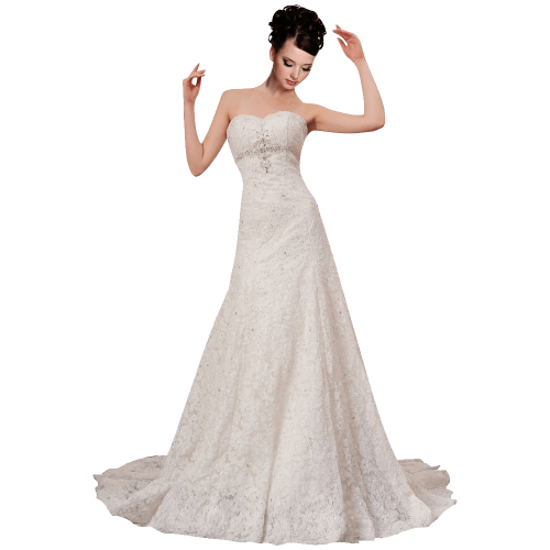 Strapless Ball Gown In Lace Beading Dress