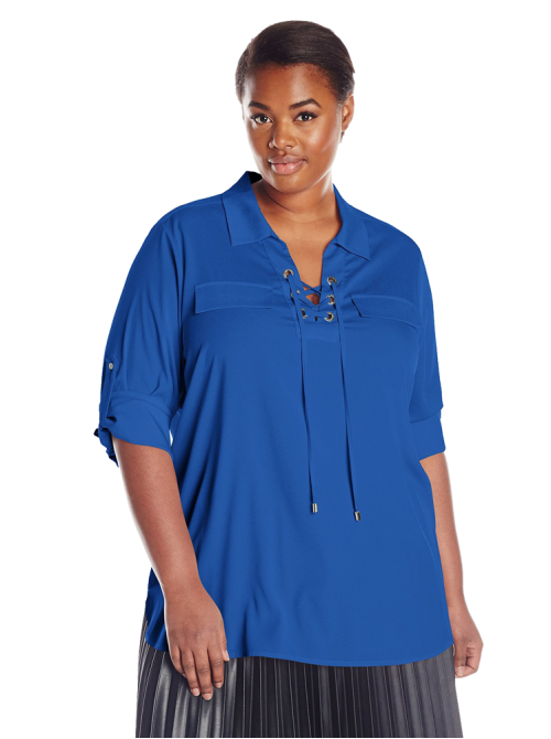 Women's Lace Up Top with Collar