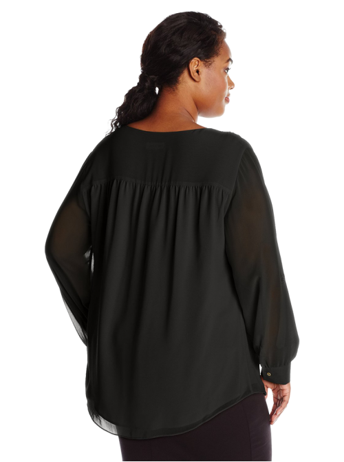 Women's Plus-Size Modern Essential Ruffle Front Blouse