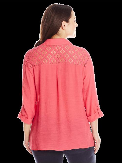 Plus-Size Crochet-Yoke Shirt