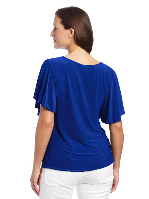 Plus-Size Flutter Sleeve Colorblock Top