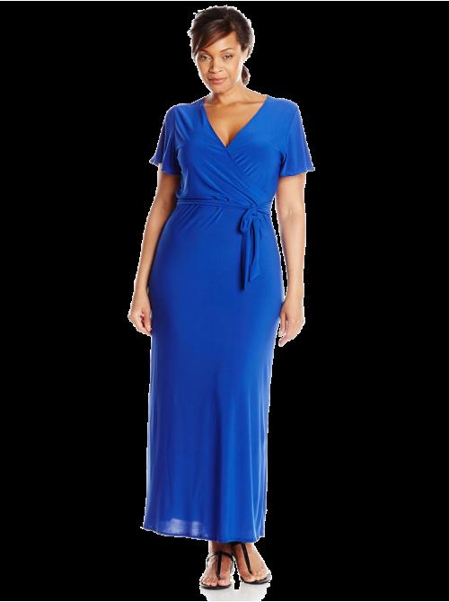 Short-Sleeve Faux Wrap Maxi Dress